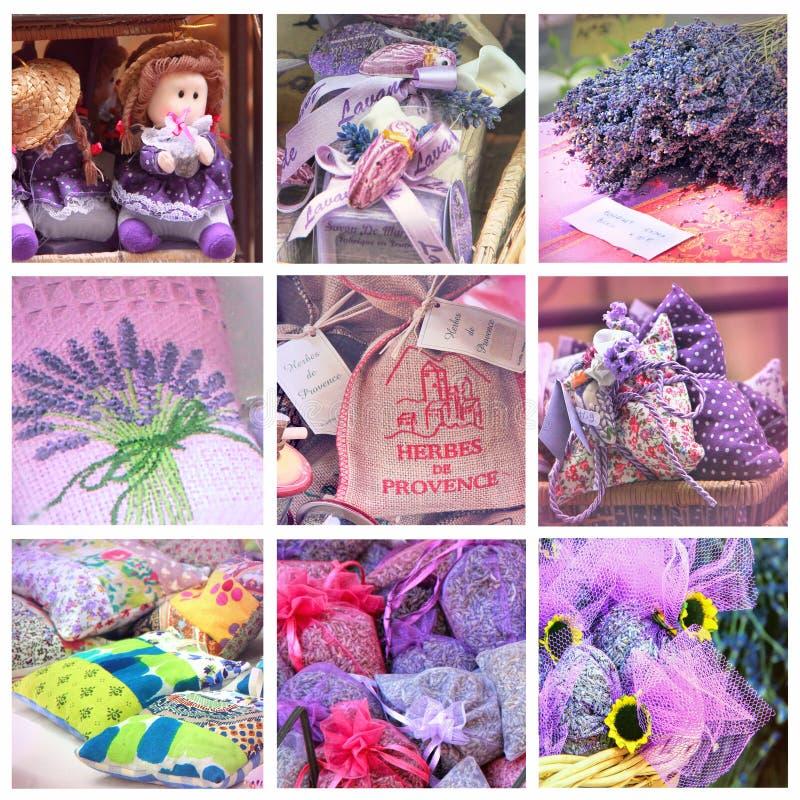 Lavendel för försäljning på provencal marknad royaltyfria foton