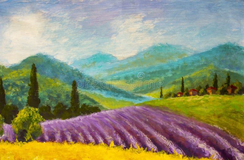 Lavendel het purpere gebied schilderen Italiaans de zomerplatteland Frans Toscanië Gebied van gele rogge Landelijke huizen en hog vector illustratie