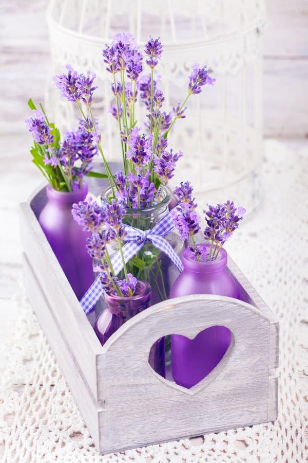 Lavendel i flaskdekor fotografering för bildbyråer