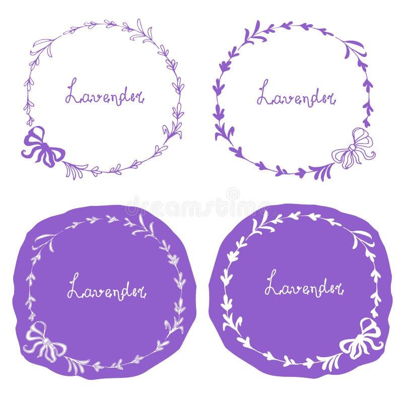 Lavendel om bannerreeks Hand getrokken de voorraad vectorillustratie van ontwerpelementen voor Web stock illustratie