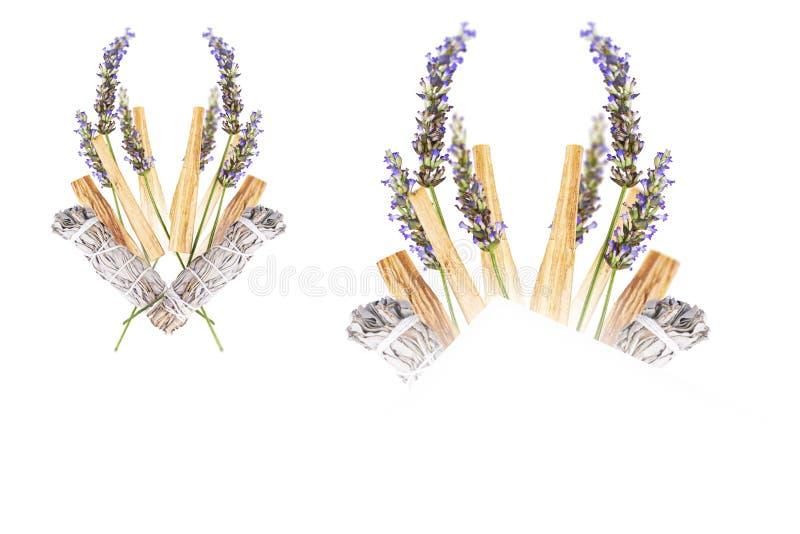 Lavendel Palo Santo Sage Bouquet Isolated arkivfoton