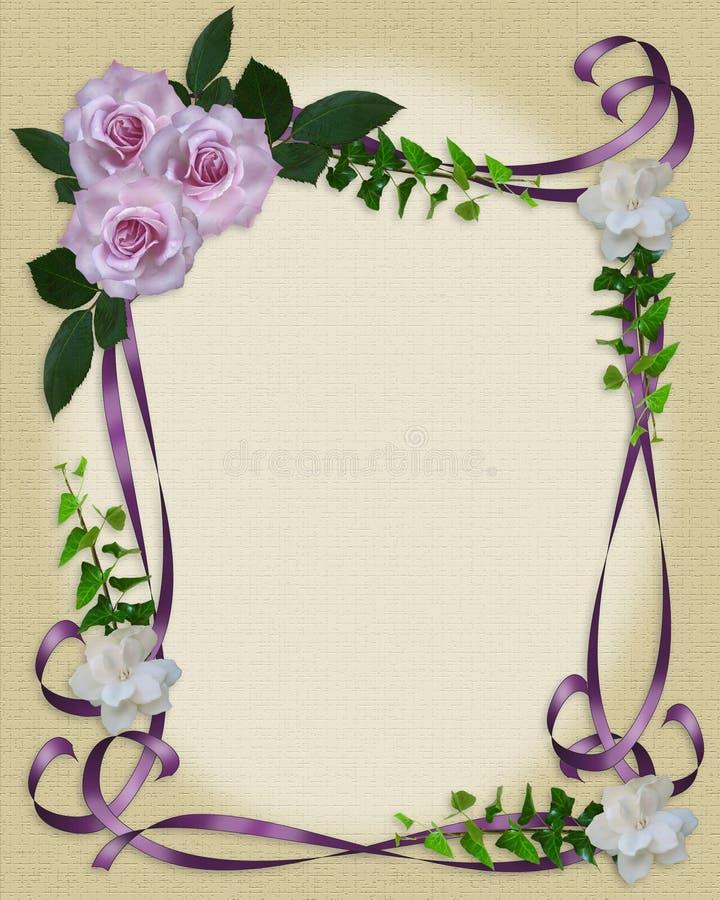Lavendel-Rosen, die Einladungsrand Wedding sind stock abbildung