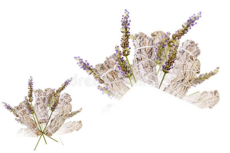 Lavendel Sage Bouquet Isolated royalty-vrije stock foto