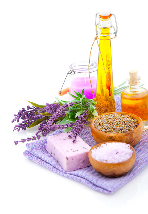 Lavendel salt bad, olja royaltyfria foton