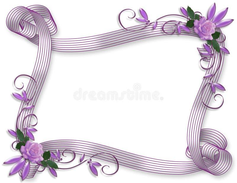 Lavendel van de de uitnodigings de bloemengrens van het huwelijk vector illustratie