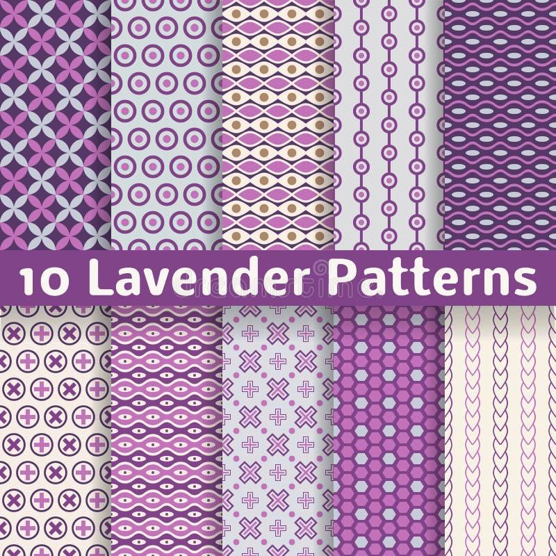 Lavendel verschillende vector naadloze patronen royalty-vrije illustratie