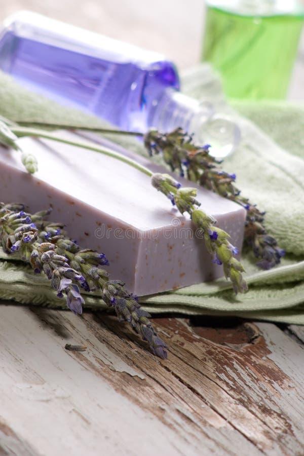 Lavendelbadekurortset stockbilder