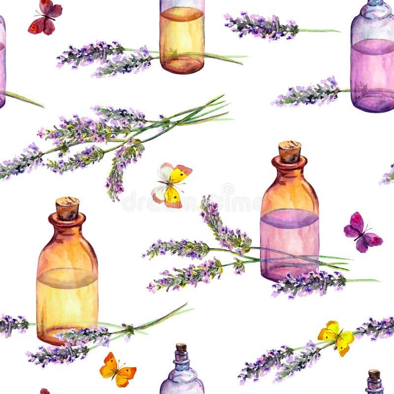 Lavendelbloemen, de flessen van het olieparfum, vlinders Het herhalen van patroon voor schoonheidsmiddel, parfum, schoonheidsontw stock illustratie