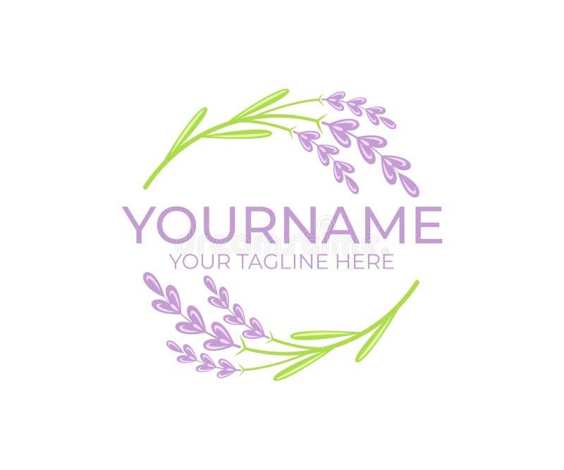 Lavendelblomma och växt, logomall Skönhet och naturlig skönhetsmedelolja, rund vectorial design stock illustrationer