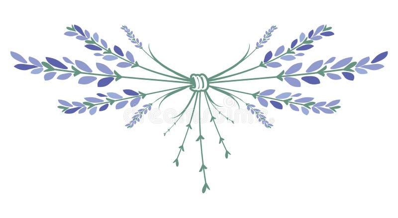 Lavendelblommakrans Prydnad som bildas av små buketter av lavendel stock illustrationer