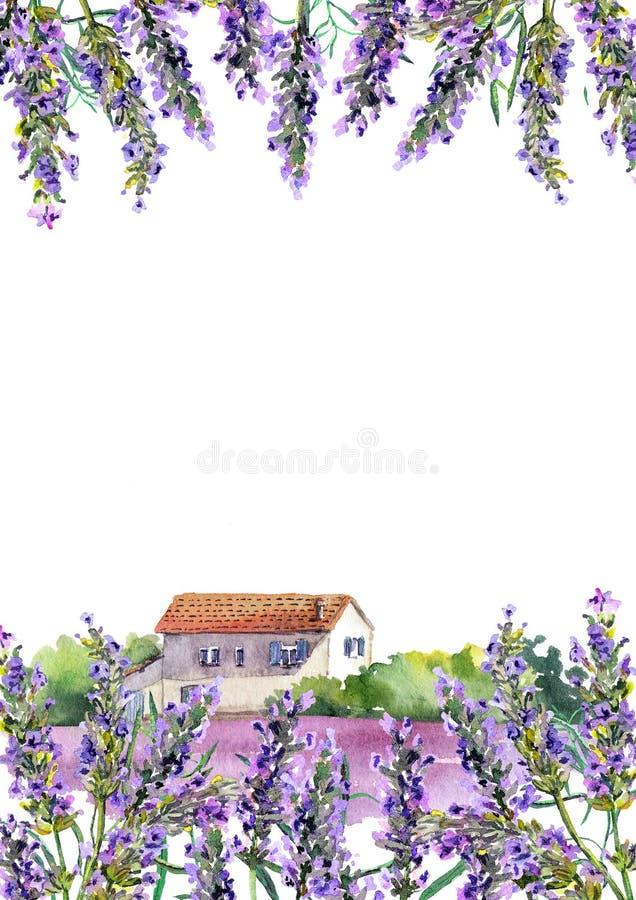 Lavendelblommor, lantligt lantgårdhus Vattenfärgkort arkivbild