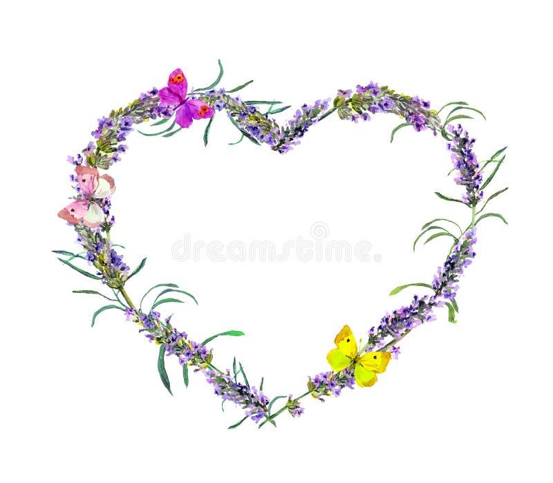 Lavendelblumen, Schmetterlinge Aquarellblumenherzrahmen für Valentinstag, heiratend lizenzfreie abbildung