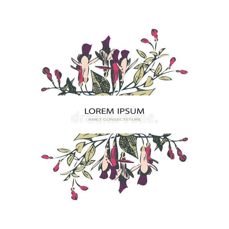 Lavendelblumenmuster-Abdeckungsdesign Hand gezeichnete kreative Blume Elegantes modisches künstlerisches Hintergrundblüten-Grün b stock abbildung