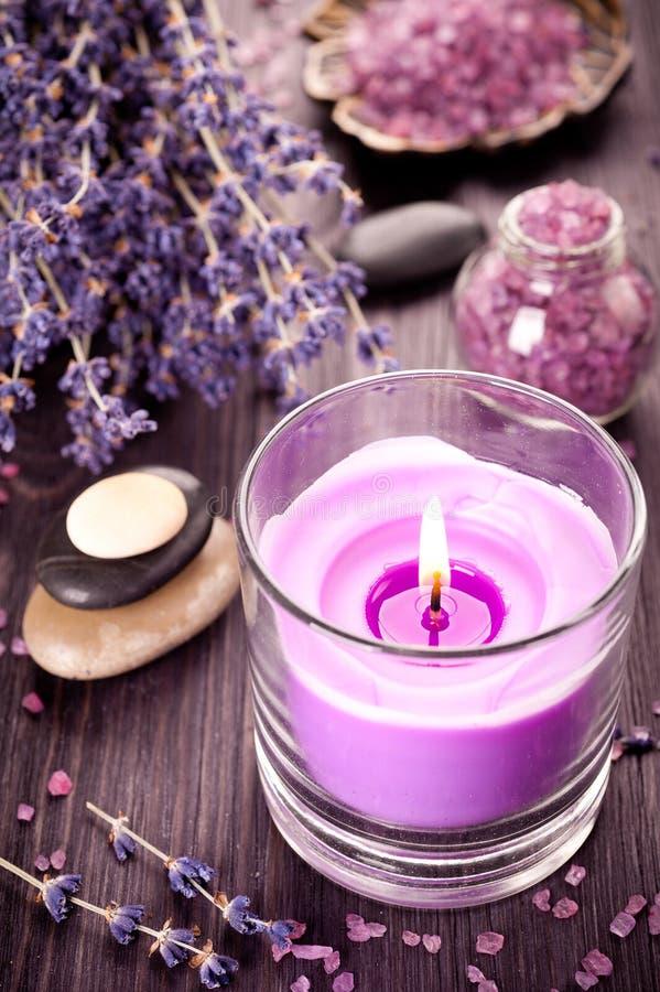 Lavendelbrunnsort- och zenstenar royaltyfri bild