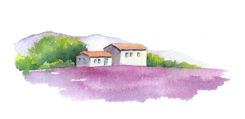 Lavendelfält och lantligt hus i Provence, Frankrike vattenfärg royaltyfri illustrationer