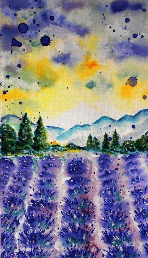 Lavendelfeld, Aquarelltechnik stockbild