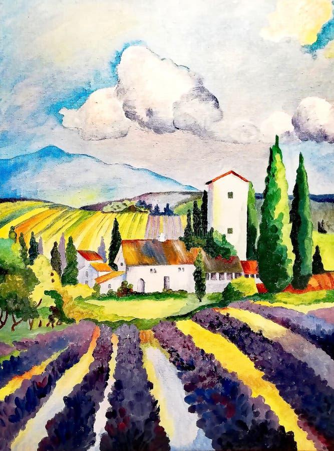 Lavendelfeld in Frankreich, Sommertag stockfoto