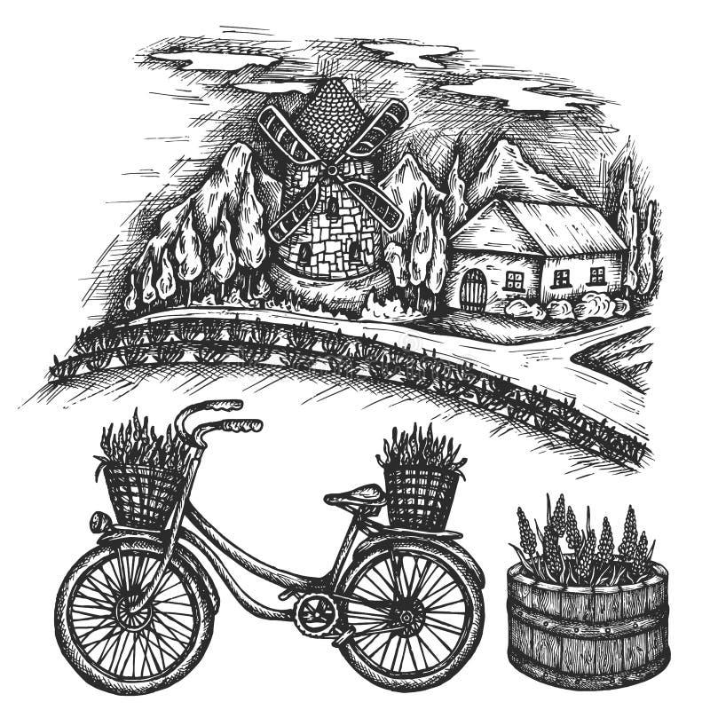 Lavendelfeld Sommerlandschaft Fahrradhandgezogene Vektorskizze Provence, Frankreich, altes Fahrrad der Tintenillustration mit Blu stock abbildung