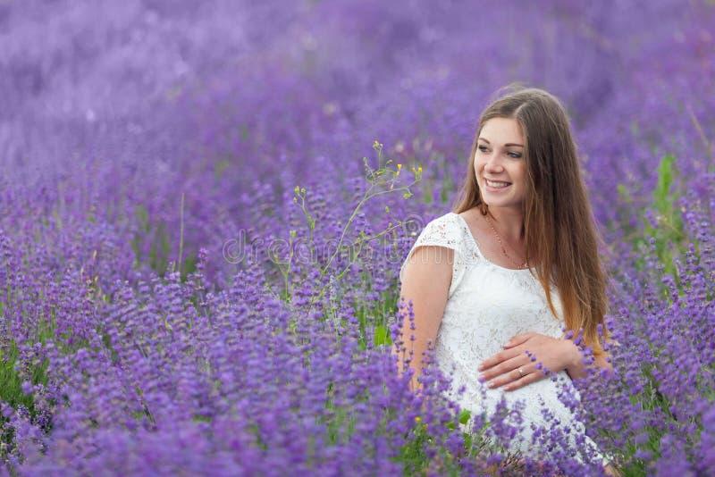 Lavendelgebied en een zwangere vrouw royalty-vrije stock foto's