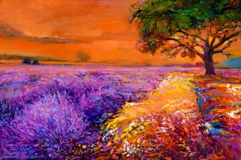 Lavendelgebieden vector illustratie