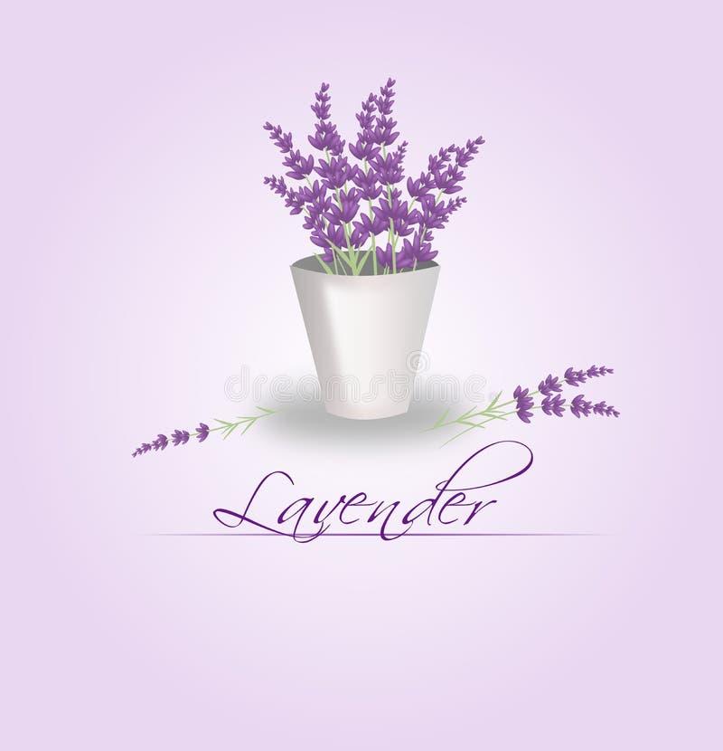 Lavendelgrupp i blomkruka royaltyfri illustrationer