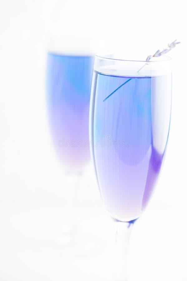 Lavendellemonad i exponeringsglas Koppla av och tetidbegreppet Utrymme för text royaltyfri fotografi