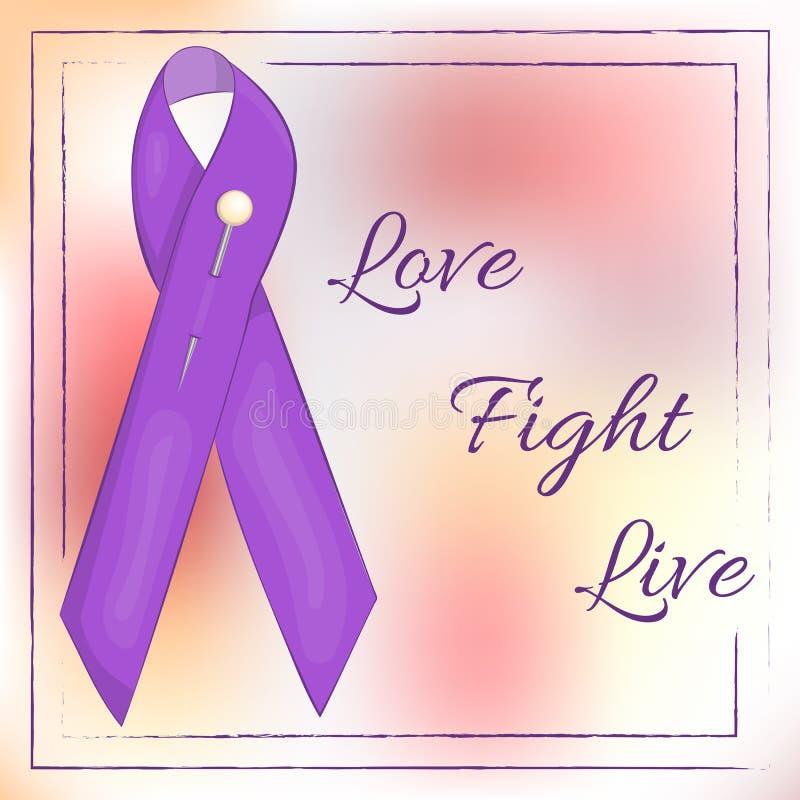 Lavendellint op abstracte achtergrond voor de Dag van Wereldkanker Liefde strijd leef Vectorillustratie in beeldverhaal vector illustratie