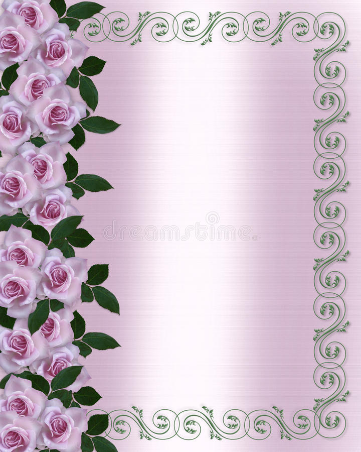 Lavendelrosen, die Blumenrand wedding sind lizenzfreie abbildung