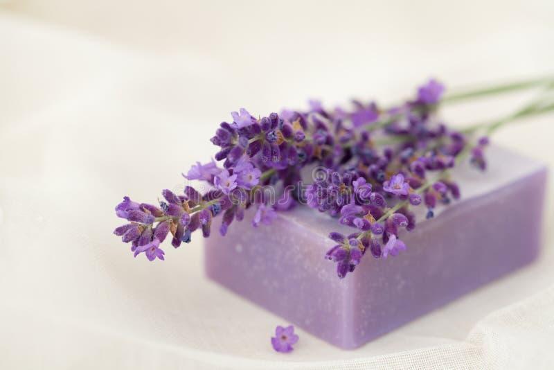 Lavendelseifenstab lizenzfreie stockfotografie