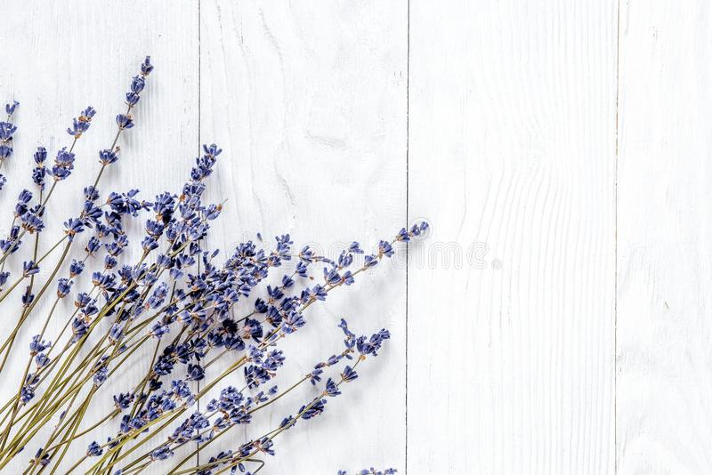 Lavendelskrivborddesign med blommor på bästa sikt M för vit bakgrund royaltyfria bilder