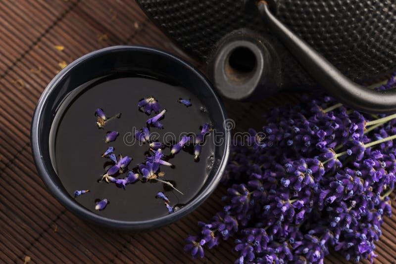 Lavendeltee lizenzfreie stockfotos