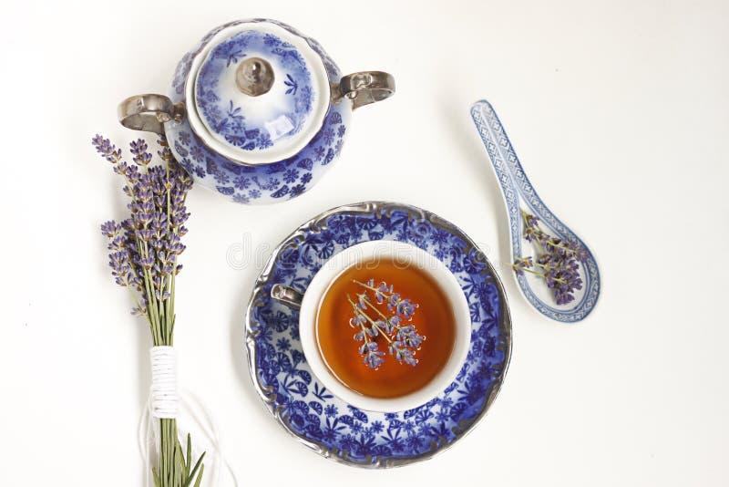 Lavendelthee royalty-vrije stock afbeelding