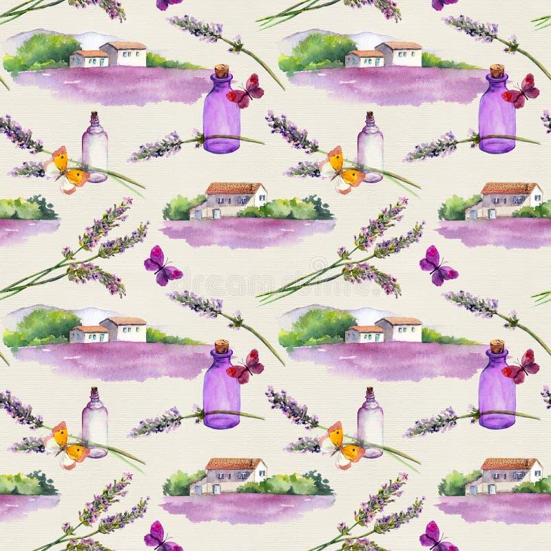 Lavender ανθίζει, μπουκάλια αρώματος πετρελαίου, πεταλούδες με τα αγροτικά σπίτια και lavender τομείς Επανάληψη του σχεδίου για τ στοκ εικόνα