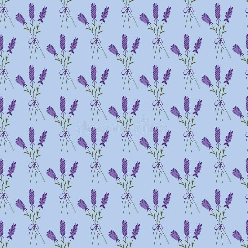 Lavender ανθοδέσμη σε ένα μπλε άνευ ραφής σχέδιο υποβάθρου ελεύθερη απεικόνιση δικαιώματος