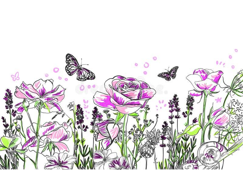 Lavender αυξήθηκε διανυσματική πορφύρα υποβάθρου καρτών λουλουδιών ελεύθερη απεικόνιση δικαιώματος