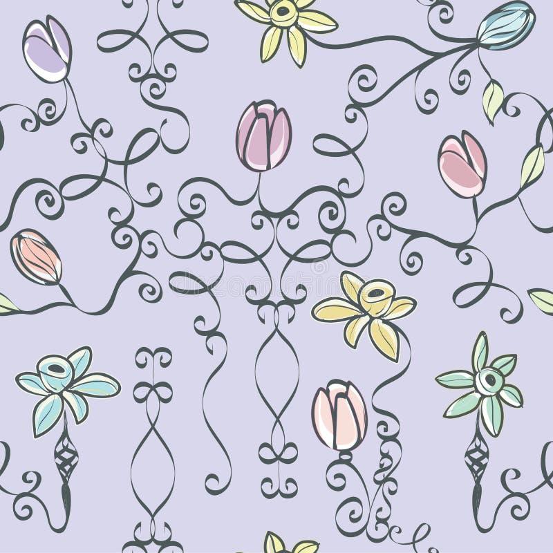Lavender η τυπωμένη ύλη παραμυθιού άνευ ραφής επαναλαμβάνει το διάνυσμα τυπωμένων υλών σχεδίων διανυσματική απεικόνιση