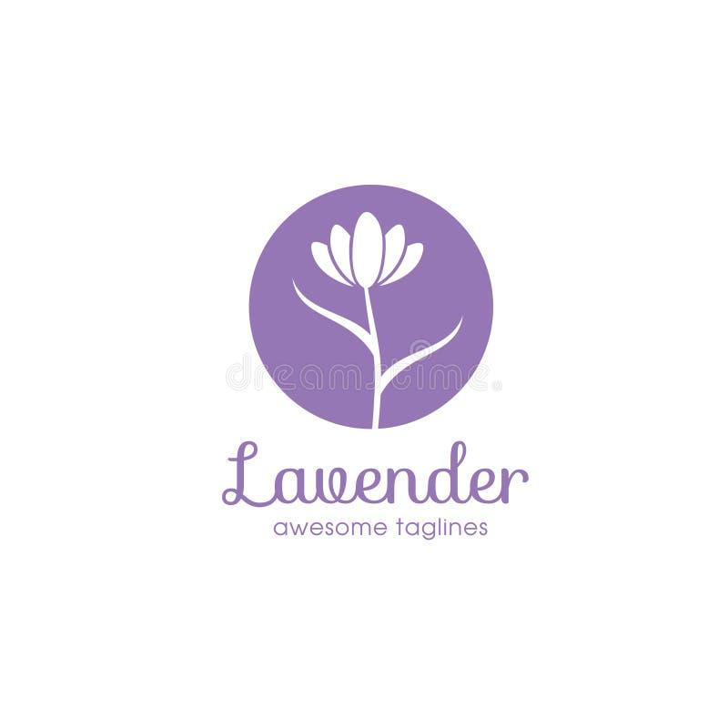 Lavender λογότυπο λουλουδιών για την ομορφιά και την καλλυντική επιχείρηση ελεύθερη απεικόνιση δικαιώματος