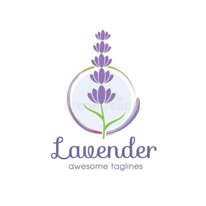 Lavender λογότυπο λουλουδιών για την ομορφιά και την καλλυντική επιχείρηση διανυσματική απεικόνιση