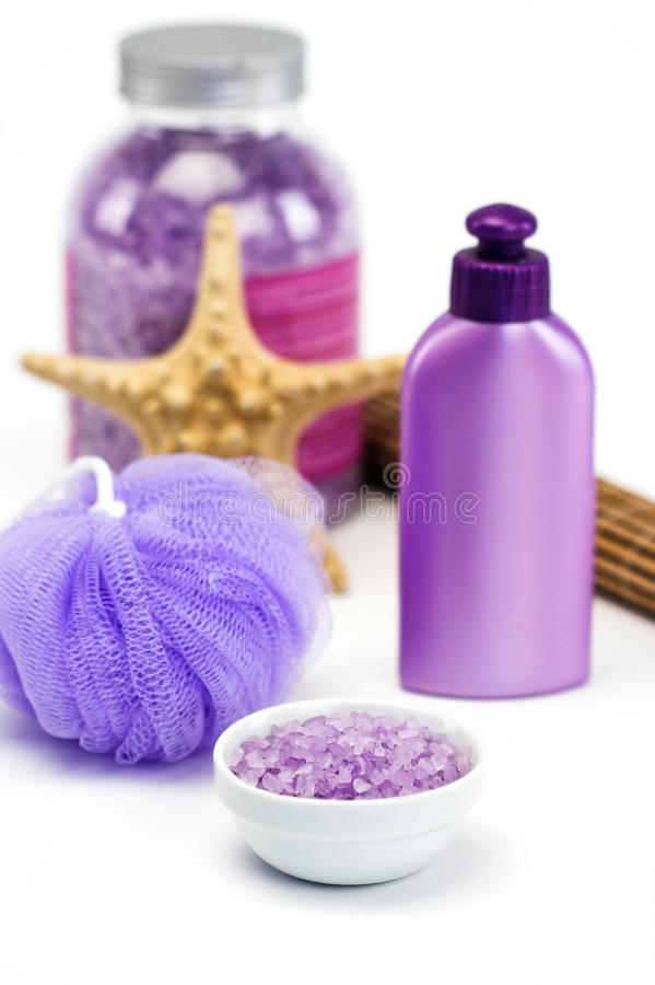 lavender λουτρών άλατα στοκ εικόνες