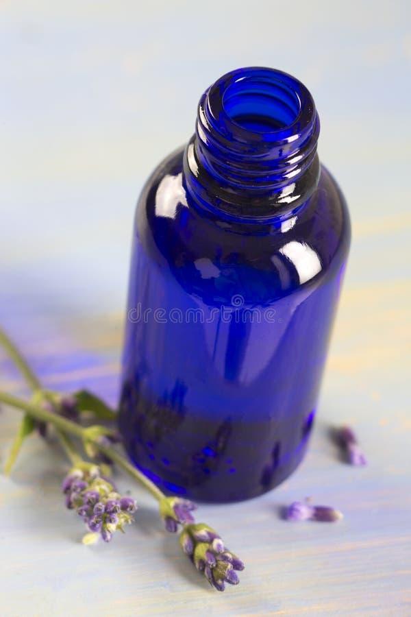 Lavender μπουκάλι ουσιαστικού πετρελαίου στοκ φωτογραφία με δικαίωμα ελεύθερης χρήσης