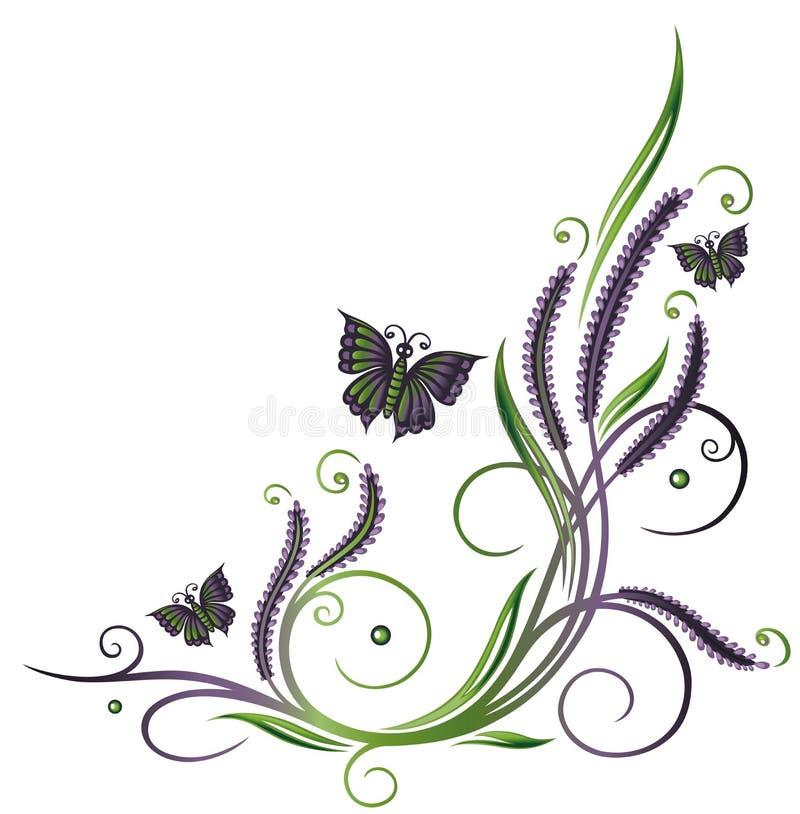Lavender, λουλούδια, πεταλούδες διανυσματική απεικόνιση