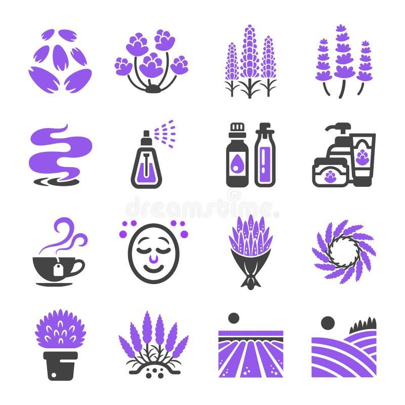 Lavender σύνολο εικονιδίων ελεύθερη απεικόνιση δικαιώματος
