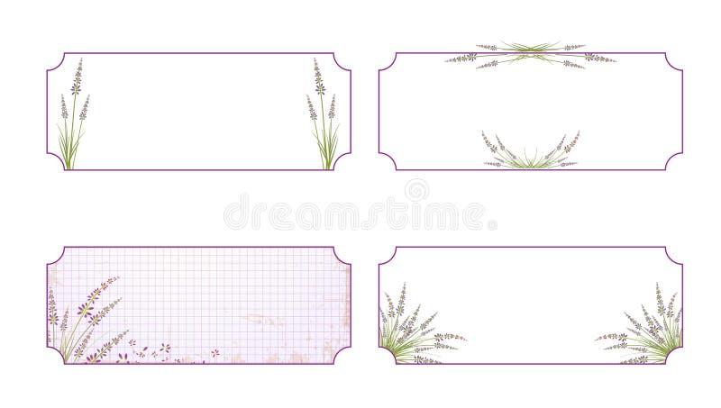 Lavender σύνολο ετικετών λουλουδιών διανυσματική απεικόνιση