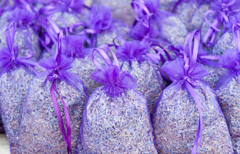 Lavender bags. Lavender closeup shot - bags with dried lavender flowers stock photo