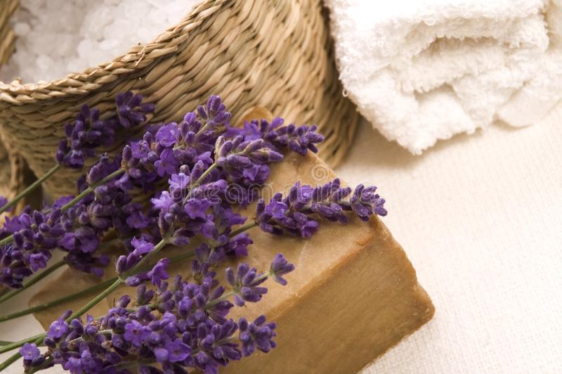 Lavender bath items royalty free stock photos