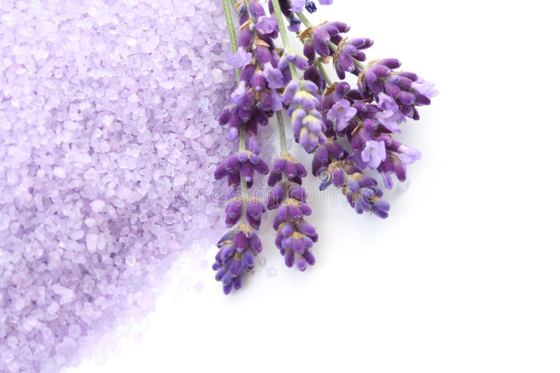 Lavender bath salt stock photography