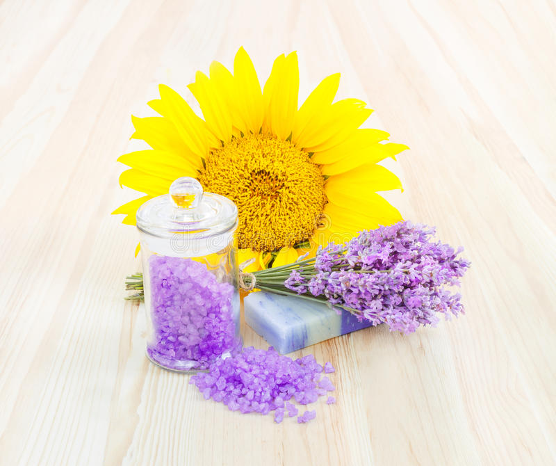 Lavender bath salt and soap. royalty free stock photography
