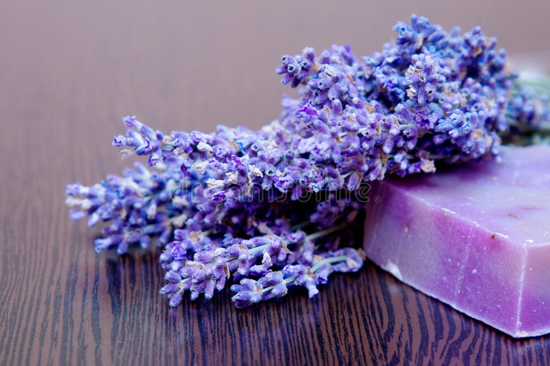 A lavender bouquet and a handmade soap royalty free stock images