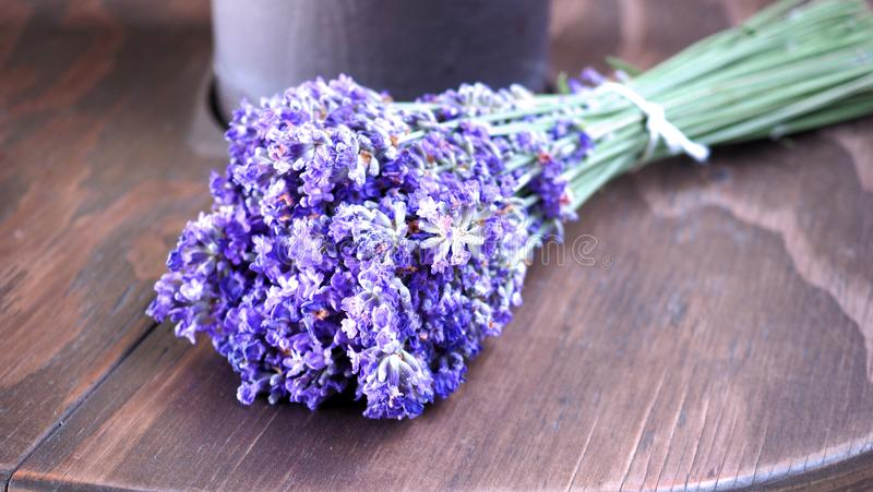 Lavender bouquet on wood table stock photos