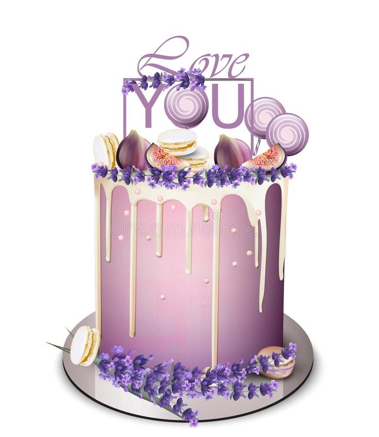 Lavender cake with fig fruits on top Vector realistic. White chocolate frosting. Birthday, anniversary, wedding royal desserts royalty free illustration